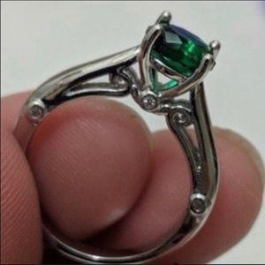 1.25ct Created Emerald & White Sapphire Solitaire